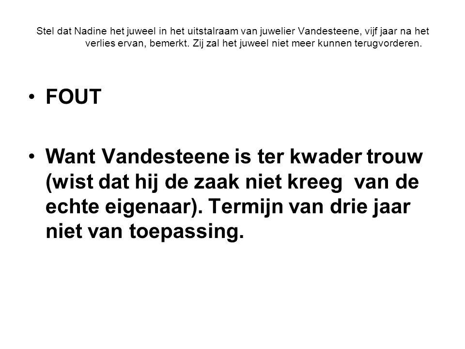 Stel dat Nadine het juweel in het uitstalraam van juwelier Vandesteene, vijf jaar na het verlies ervan, bemerkt.