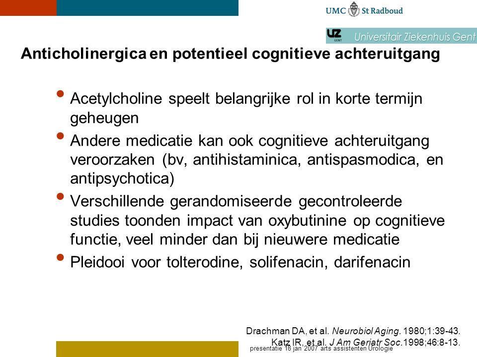 presentatie 18 jan 2007 arts assistenten Urologie Anticholinergica en potentieel cognitieve achteruitgang Acetylcholine speelt belangrijke rol in kort