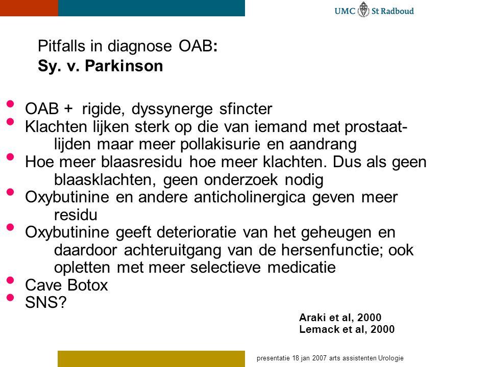 presentatie 18 jan 2007 arts assistenten Urologie Pitfalls in diagnose OAB: Sy. v. Parkinson OAB + rigide, dyssynerge sfincter Klachten lijken sterk o