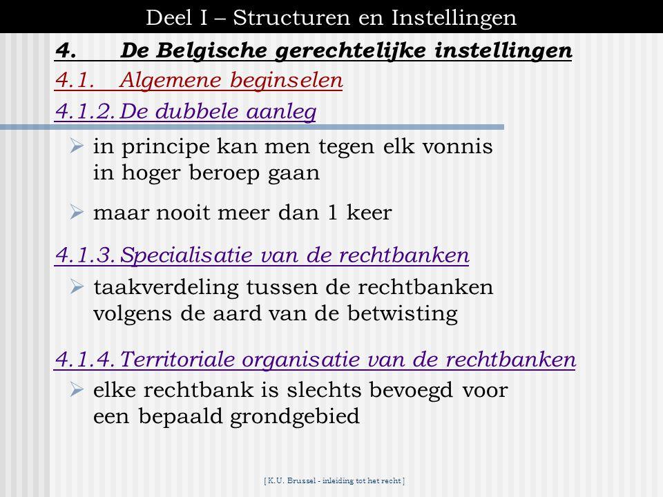 [ K.U. Brussel - inleiding tot het recht ] 4.De Belgische gerechtelijke instellingen Deel I – Structuren en Instellingen 4.1.Algemene beginselen 4.1.1
