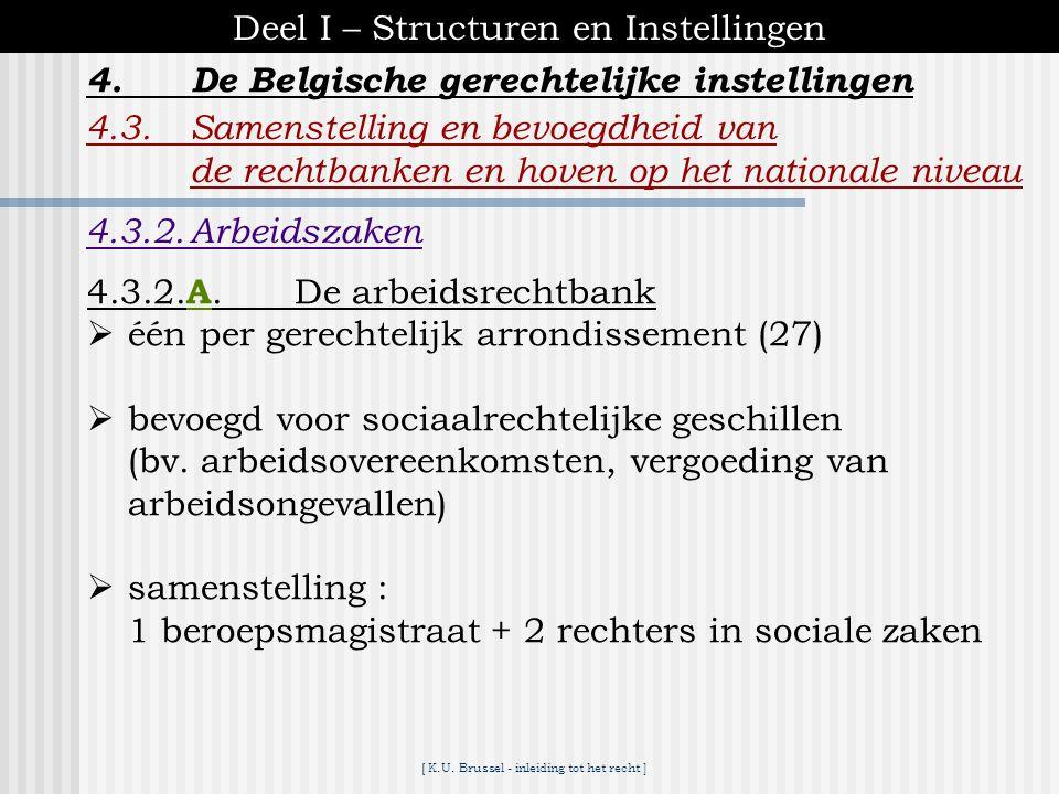 [ K.U. Brussel - inleiding tot het recht ] 4.De Belgische gerechtelijke instellingen Deel I – Structuren en Instellingen 4.3.Samenstelling en bevoegdh