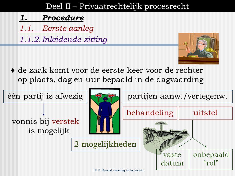[ K.U. Brussel - inleiding tot het recht ] 1.Procedure Deel II – Privaatrechtelijk procesrecht 1.1.Eerste aanleg 1.1.1.Dagvaarding  bij inleiding van
