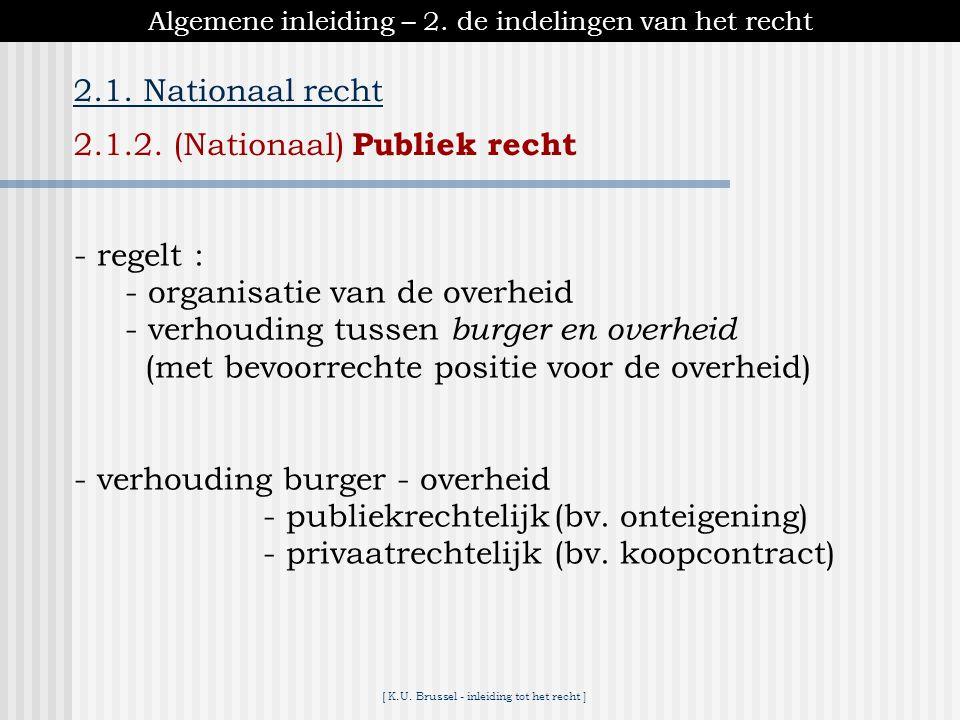 [ K.U. Brussel - inleiding tot het recht ] Algemene inleiding – 2. de indelingen van het recht 2.1. Nationaal recht 2.1.1. (Nationaal) Privaatrecht 2.
