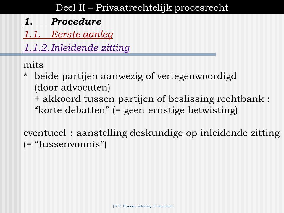 [ K.U. Brussel - inleiding tot het recht ] 1.Procedure Deel II – Privaatrechtelijk procesrecht 1.1.Eerste aanleg 1.1.2.Inleidende zitting ♦de zaak kom