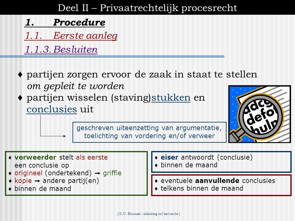 [ K.U. Brussel - inleiding tot het recht ] 1.Procedure Deel II – Privaatrechtelijk procesrecht 1.1.Eerste aanleg 1.1.2.Inleidende zitting mits *beide