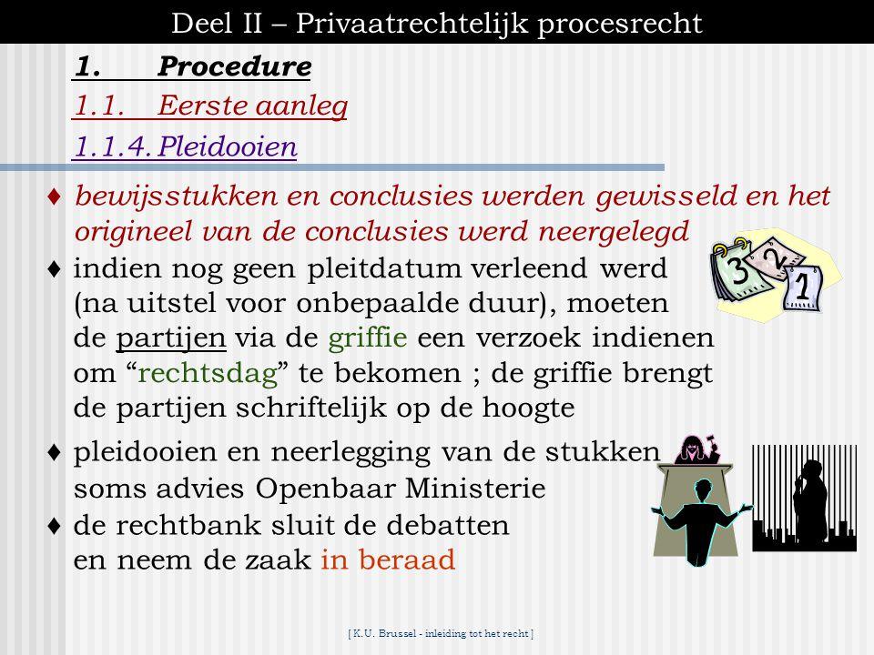 [ K.U. Brussel - inleiding tot het recht ] 1.Procedure Deel II – Privaatrechtelijk procesrecht 1.1.Eerste aanleg 1.1.3.Besluiten ♦art. 751 Ger.W. ▪ gr