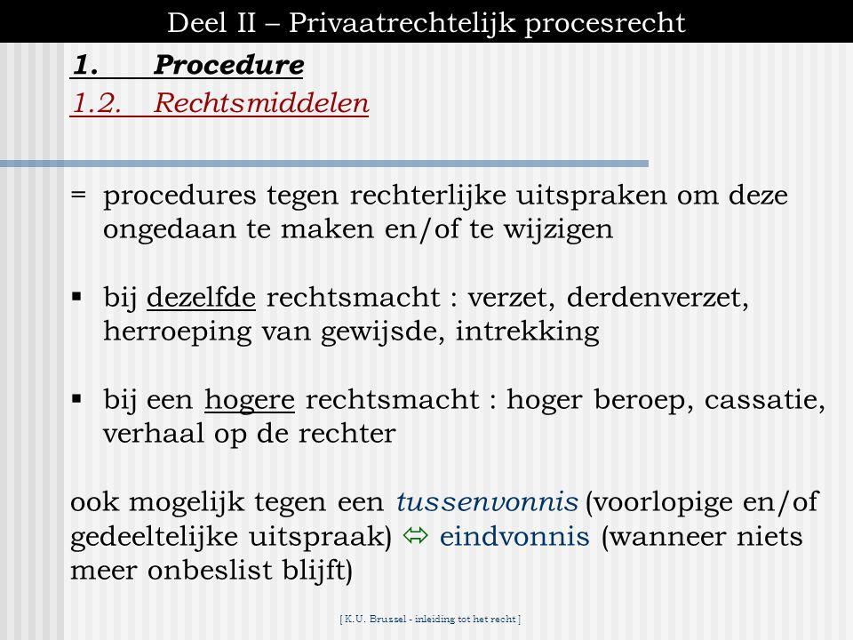 [ K.U. Brussel - inleiding tot het recht ] 1.Procedure Deel II – Privaatrechtelijk procesrecht 1.1.Eerste aanleg 1.1.5.Vonnis ♦zelden onmiddellijk na