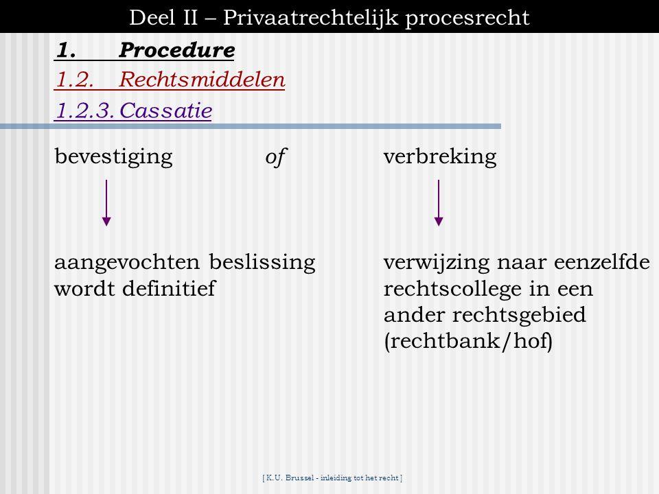 [ K.U. Brussel - inleiding tot het recht ] 1.Procedure Deel II – Privaatrechtelijk procesrecht 1.2.Rechtsmiddelen 1.2.3.Cassatie - enkel tegen besliss