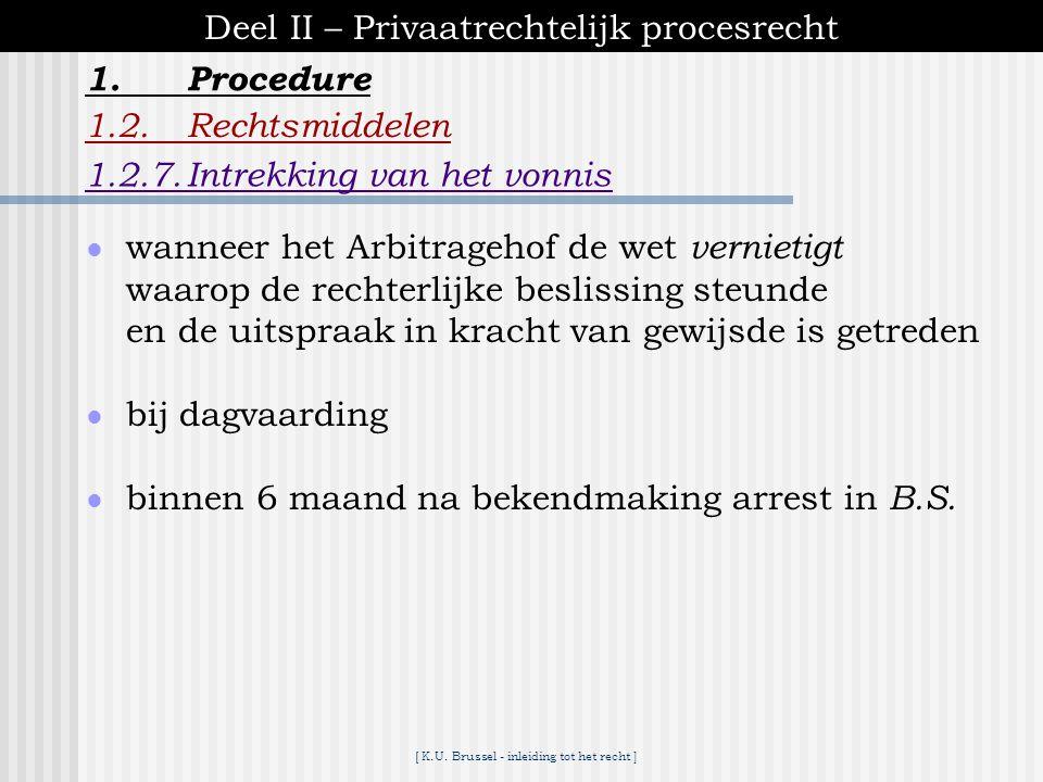 [ K.U. Brussel - inleiding tot het recht ] 1.Procedure Deel II – Privaatrechtelijk procesrecht 1.2.Rechtsmiddelen 1.2.6.Verhaal op de rechter ● in te