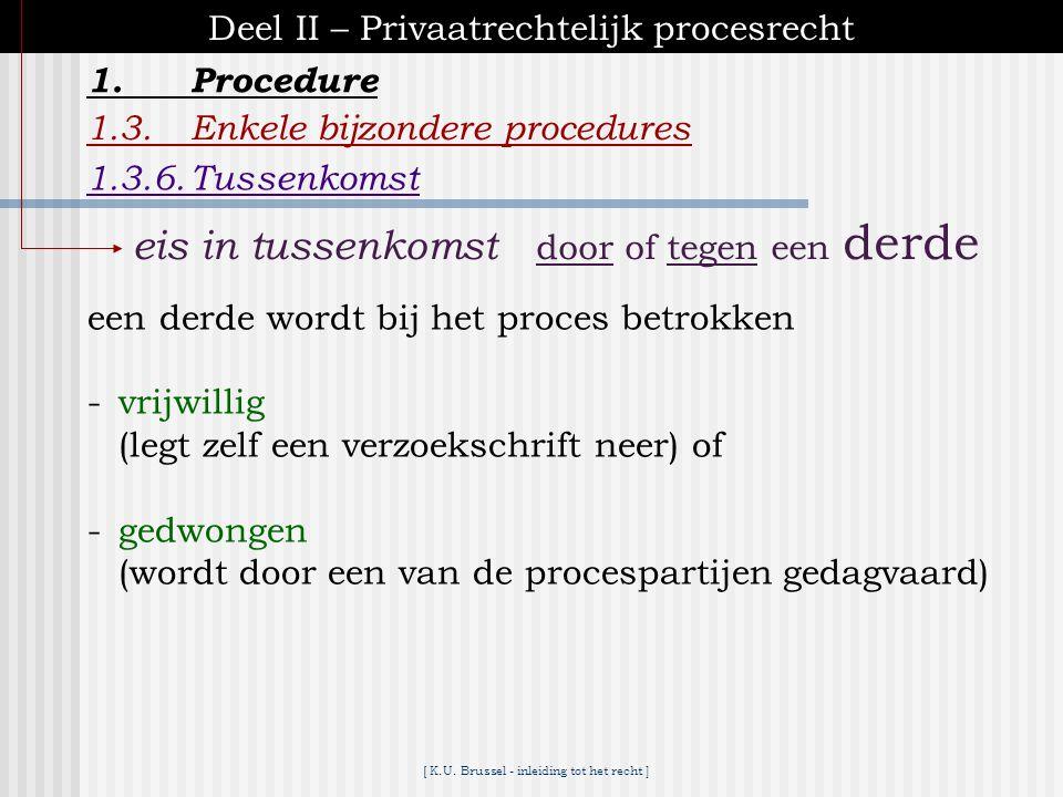 [ K.U. Brussel - inleiding tot het recht ] 1.Procedure Deel II – Privaatrechtelijk procesrecht 1.3.Enkele bijzondere procedures 1.3.5.Tussenvordering