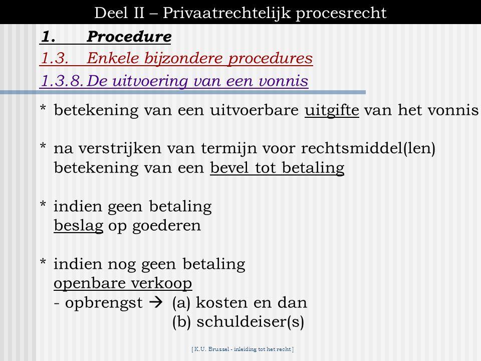 [ K.U. Brussel - inleiding tot het recht ] 1.Procedure Deel II – Privaatrechtelijk procesrecht 1.3.Enkele bijzondere procedures 1.3.7.Hervatting van h