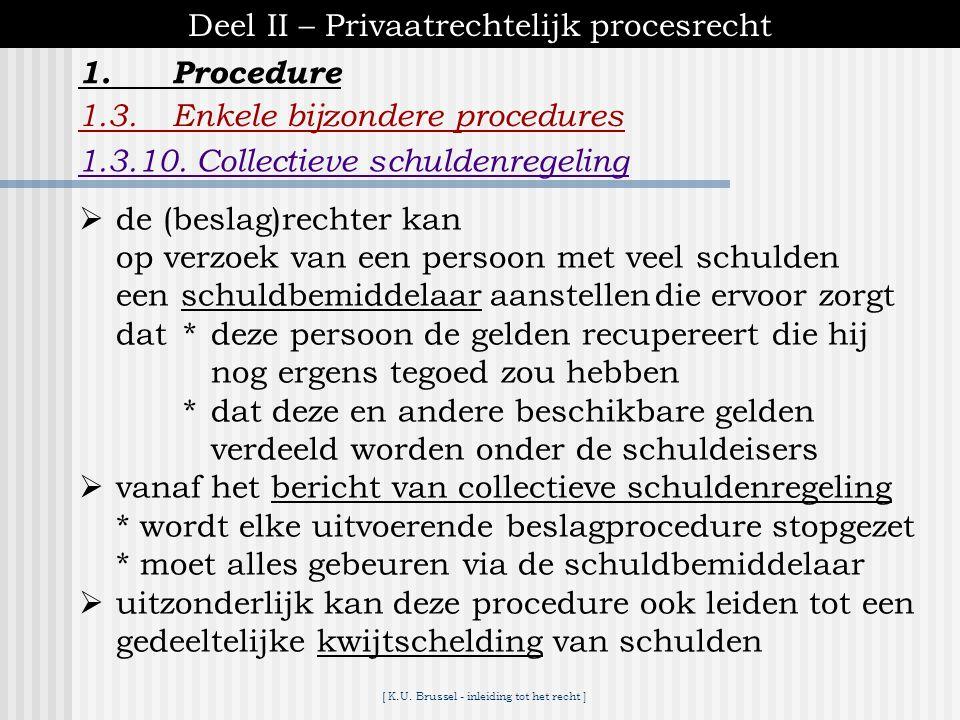 [ K.U. Brussel - inleiding tot het recht ] 1.Procedure Deel II – Privaatrechtelijk procesrecht 1.3.Enkele bijzondere procedures 1.3.9.Het beslag  uit