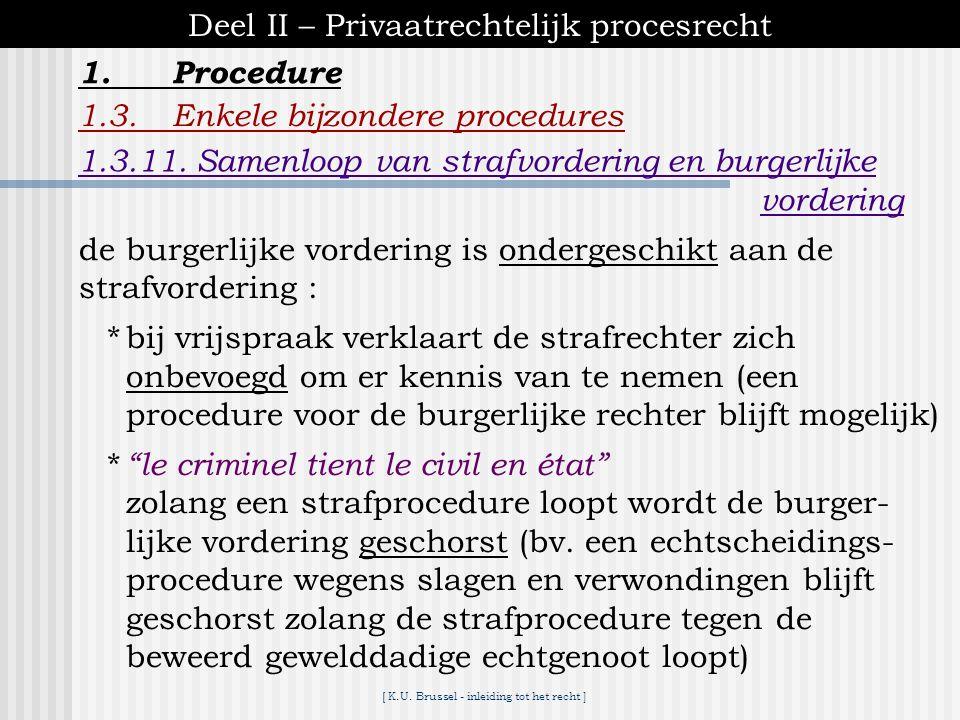 [ K.U. Brussel - inleiding tot het recht ] 1.Procedure Deel II – Privaatrechtelijk procesrecht 1.3.Enkele bijzondere procedures 1.3.11. Samenloop van
