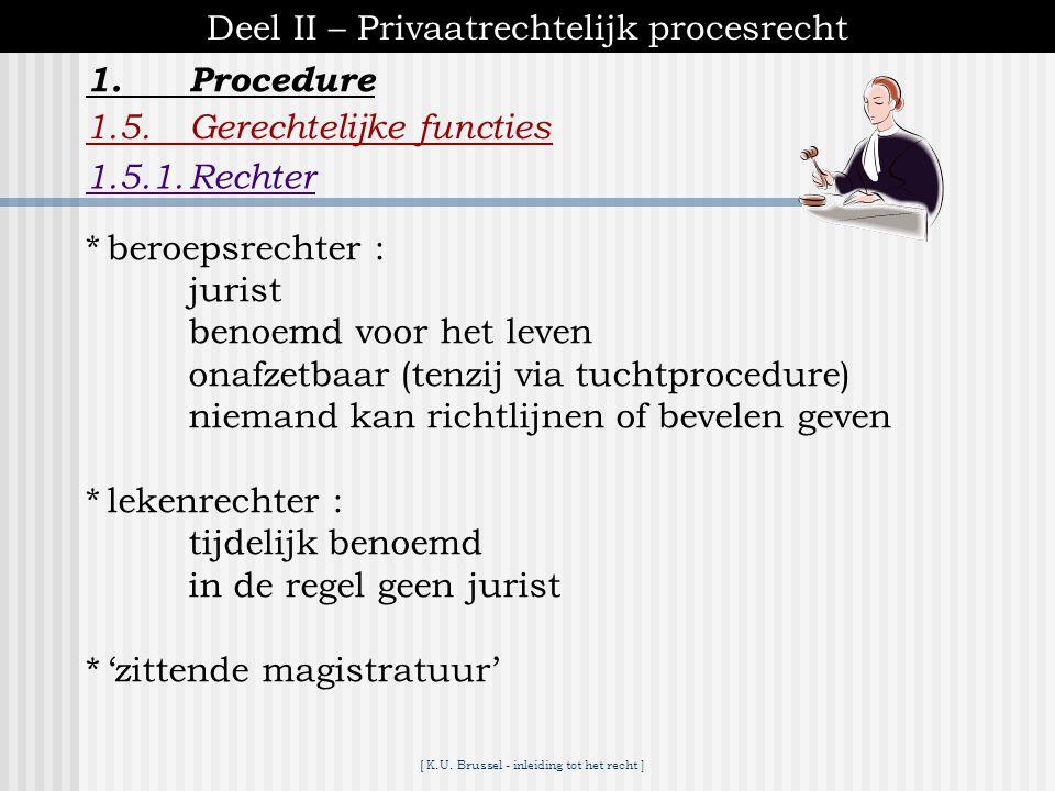 [ K.U. Brussel - inleiding tot het recht ] 1.Procedure Deel II – Privaatrechtelijk procesrecht 1.4.Enkele algemene principes van het procesrecht 1.4.4