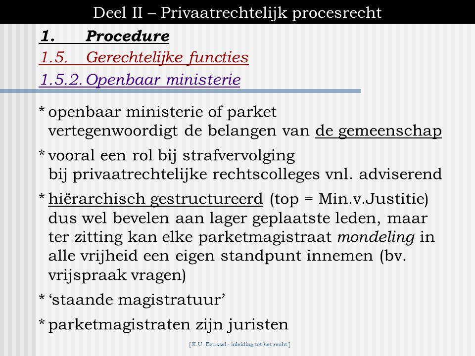 [ K.U. Brussel - inleiding tot het recht ] 1.Procedure Deel II – Privaatrechtelijk procesrecht 1.5.Gerechtelijke functies 1.5.1.Rechter *beroepsrechte