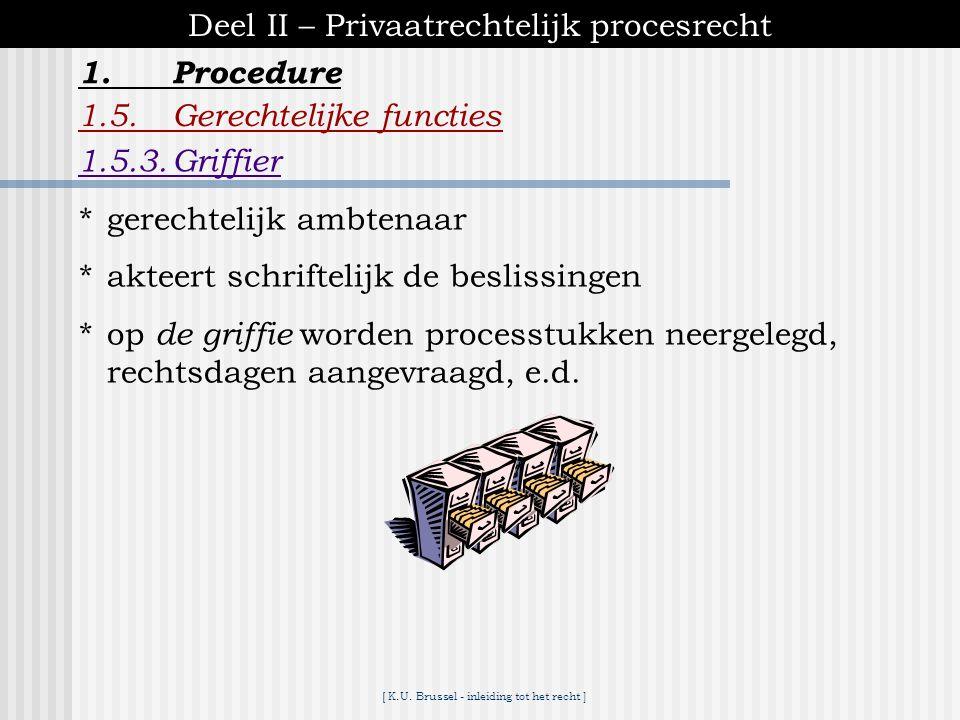 [ K.U. Brussel - inleiding tot het recht ] 1.Procedure Deel II – Privaatrechtelijk procesrecht 1.5.Gerechtelijke functies 1.5.2.Openbaar ministerie *o