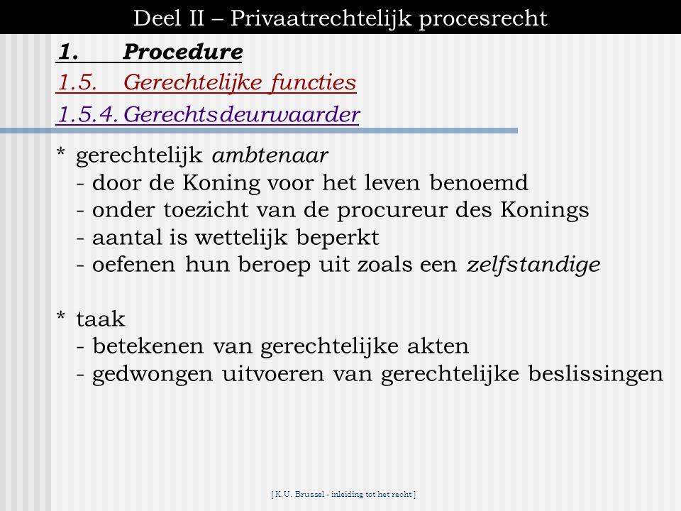 [ K.U. Brussel - inleiding tot het recht ] 1.Procedure Deel II – Privaatrechtelijk procesrecht 1.5.Gerechtelijke functies 1.5.3.Griffier *gerechtelijk