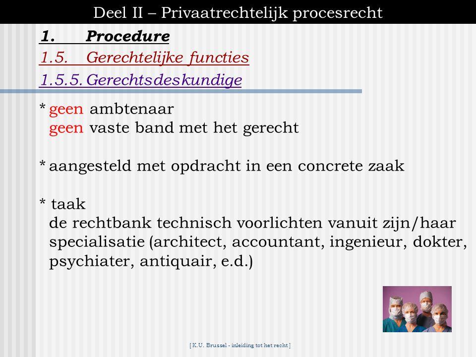[ K.U. Brussel - inleiding tot het recht ] 1.Procedure Deel II – Privaatrechtelijk procesrecht 1.5.Gerechtelijke functies 1.5.4.Gerechtsdeurwaarder *g