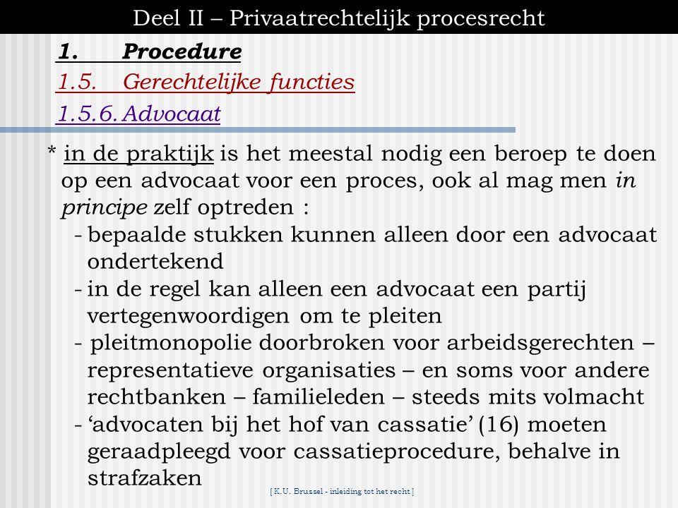 [ K.U. Brussel - inleiding tot het recht ] 1.Procedure Deel II – Privaatrechtelijk procesrecht 1.5.Gerechtelijke functies 1.5.6.Advocaat *jurist *geen