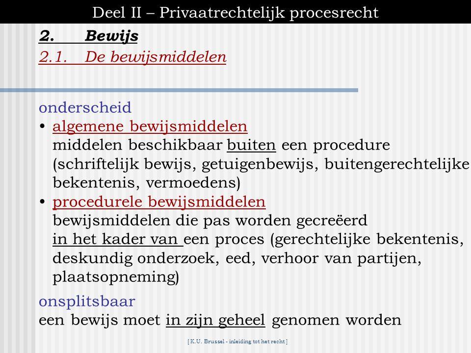 [ K.U. Brussel - inleiding tot het recht ] 2.Bewijs Deel II – Privaatrechtelijk procesrecht 2.1.De bewijslast  principes 1)rechter = passief, beperkt