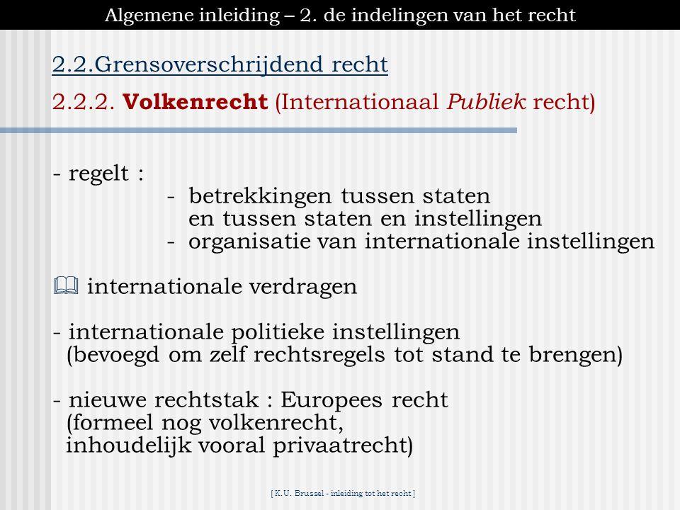 [ K.U. Brussel - inleiding tot het recht ] Algemene inleiding – 2. de indelingen van het recht 2.2.Grensoverschrijdend recht 2.2.1. Internationaal Pri