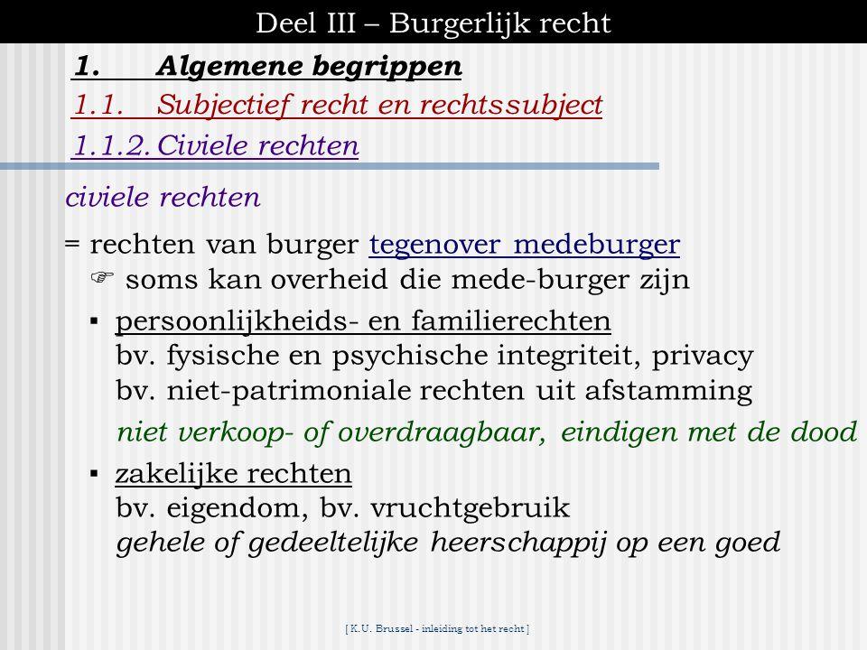 [ K.U. Brussel - inleiding tot het recht ] Deel III – Burgerlijk recht 1.Algemene begrippen 1.1.Subjectief recht en rechtssubject 1.1.1.Politieke rech