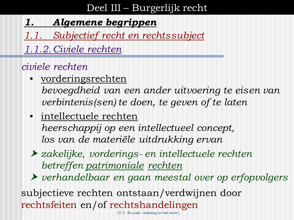 [ K.U. Brussel - inleiding tot het recht ] Deel III – Burgerlijk recht 1.Algemene begrippen 1.1.Subjectief recht en rechtssubject 1.1.2.Civiele rechte