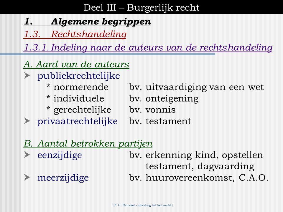 [ K.U. Brussel - inleiding tot het recht ] Deel III – Burgerlijk recht 1.Algemene begrippen 1.3.Rechtshandeling * = elke handeling die bewust wordt ge