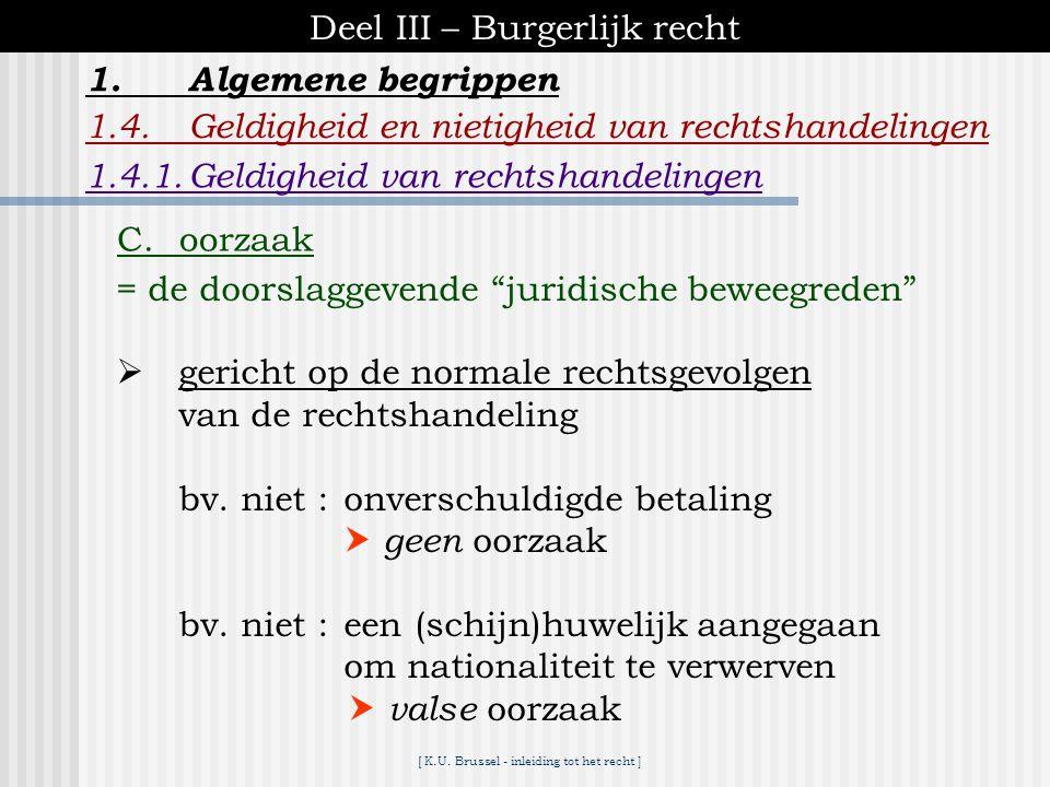 [ K.U. Brussel - inleiding tot het recht ] Deel III – Burgerlijk recht 1.Algemene begrippen 1.4.Geldigheid en nietigheid van rechtshandelingen B.voorw