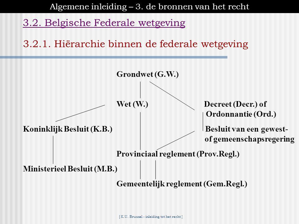 [ K.U. Brussel - inleiding tot het recht ] Algemene inleiding – 3. de bronnen van het recht 3.2. Belgische Federale wetgeving WetgevendUitvoerend Gron