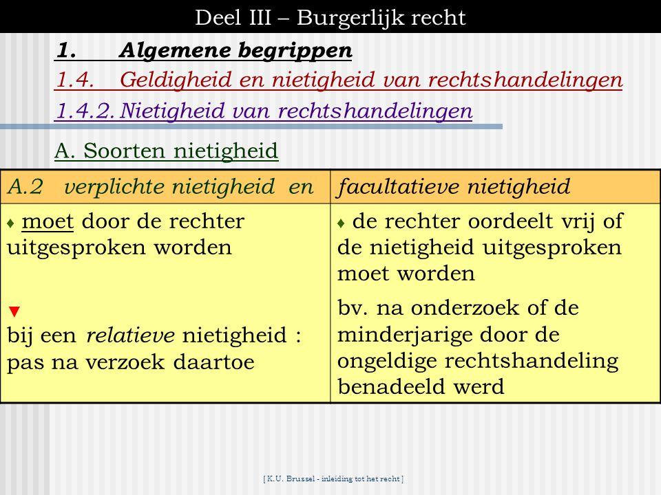 [ K.U. Brussel - inleiding tot het recht ] Deel III – Burgerlijk recht 1.Algemene begrippen 1.4.Geldigheid en nietigheid van rechtshandelingen A. Soor