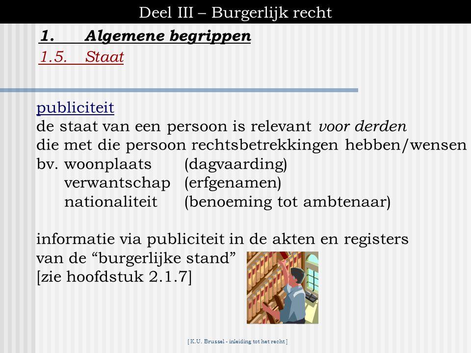 """[ K.U. Brussel - inleiding tot het recht ] Deel III – Burgerlijk recht 1.Algemene begrippen 1.5.Staat de """"staat"""" van een persoon ♦duidt de hoedanighed"""