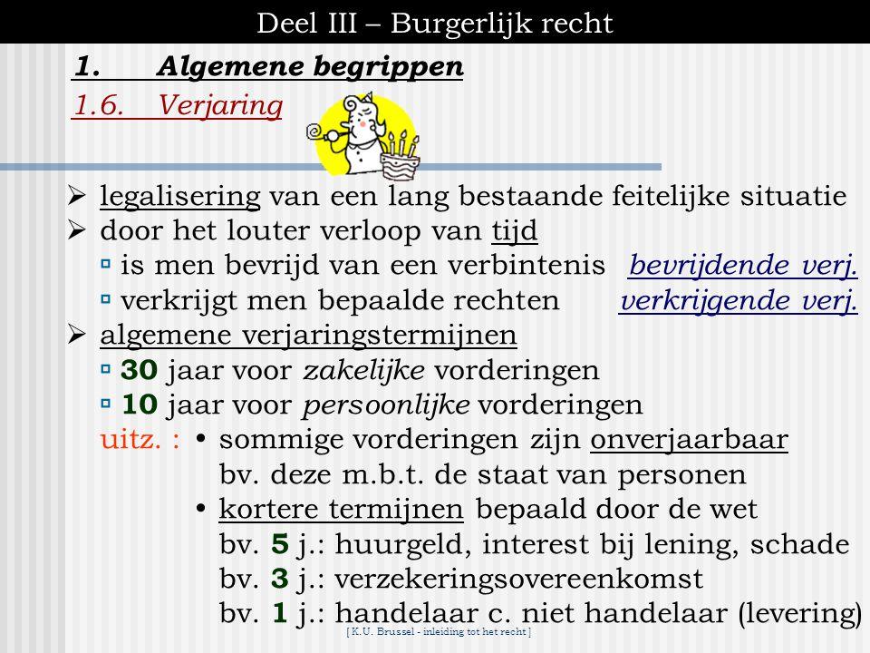 [ K.U. Brussel - inleiding tot het recht ] Deel III – Burgerlijk recht 1.Algemene begrippen 1.5.Staat publiciteit de staat van een persoon is relevant