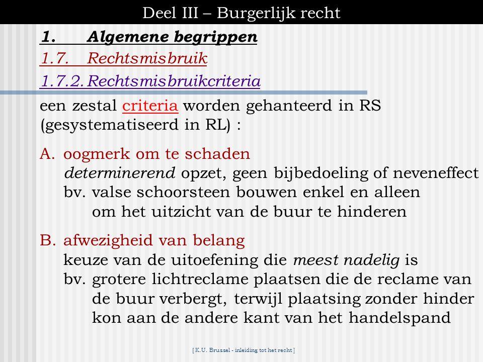 [ K.U. Brussel - inleiding tot het recht ] Deel III – Burgerlijk recht 1.Algemene begrippen 1.7.Rechtsmisbruik ♦onderscheid (RL) : rechtsmisbruik bij.