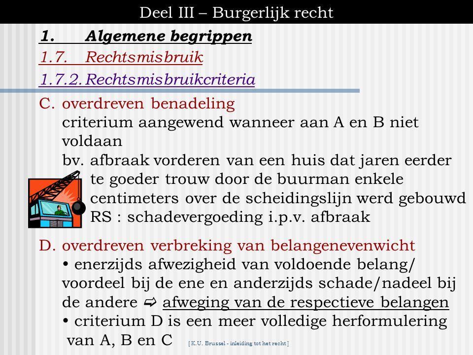 [ K.U. Brussel - inleiding tot het recht ] Deel III – Burgerlijk recht 1.Algemene begrippen 1.7.Rechtsmisbruik een zestal criteria worden gehanteerd i