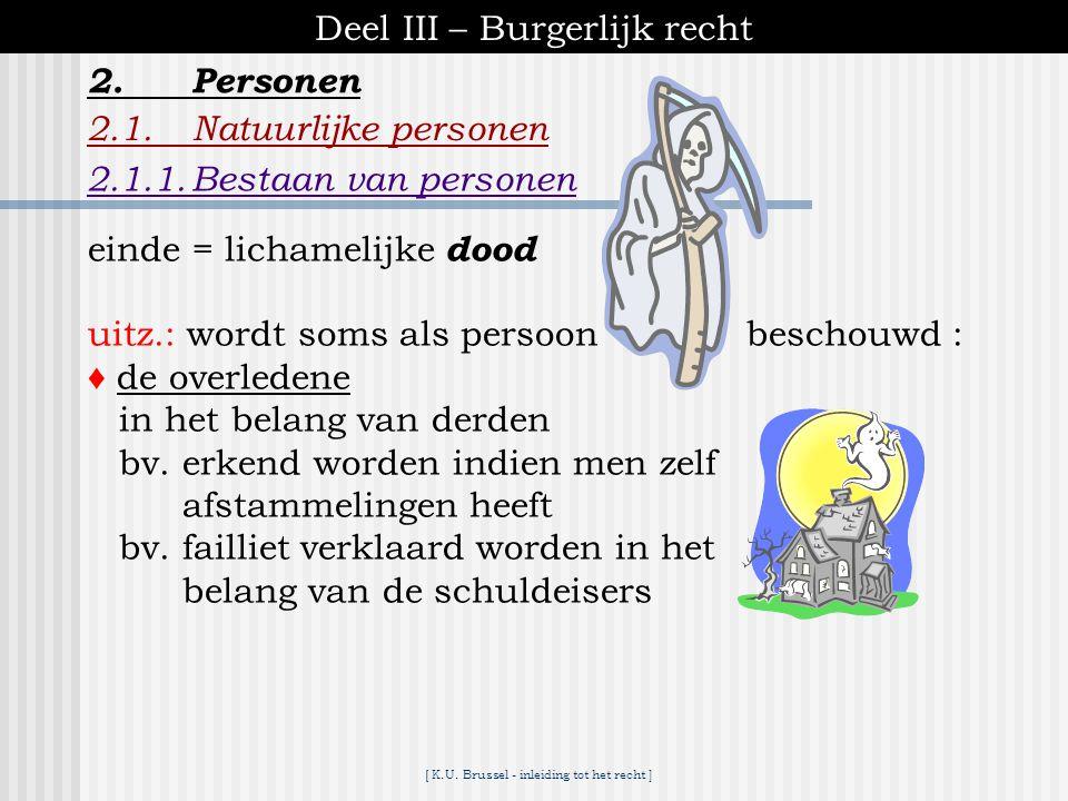 [ K.U. Brussel - inleiding tot het recht ] Deel III – Burgerlijk recht 2.1.Natuurlijke personen 2.1.1.Bestaan van personen 2.Personen aanvang = geboor