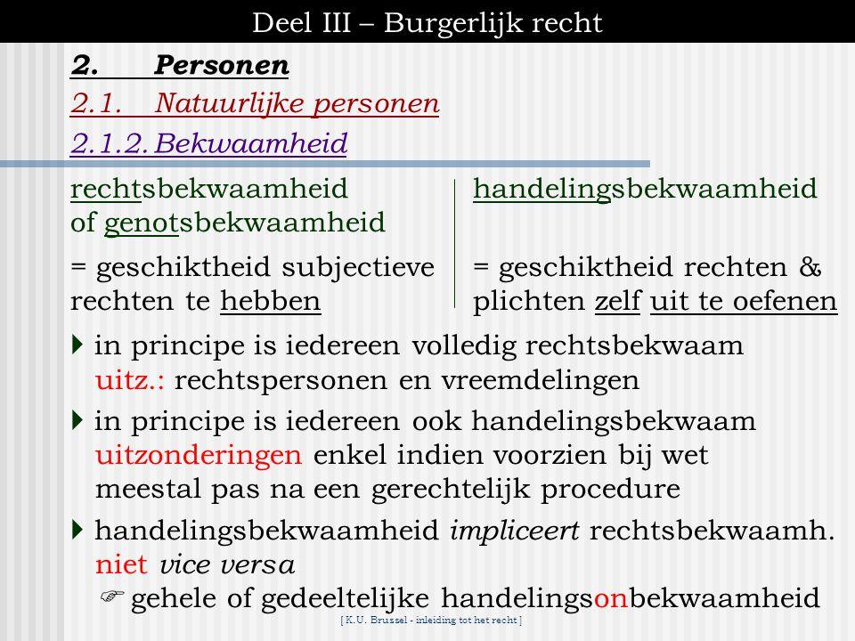 [ K.U. Brussel - inleiding tot het recht ] Deel III – Burgerlijk recht 2.1.Natuurlijke personen 2.1.1.Bestaan van personen 2.Personen de procedure inz