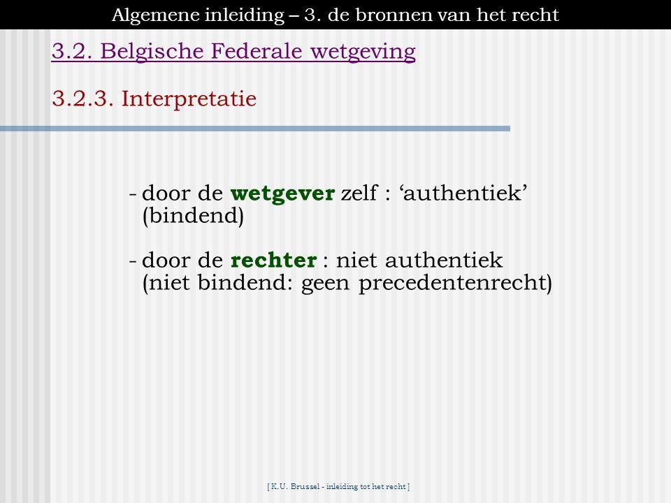 [ K.U. Brussel - inleiding tot het recht ] Algemene inleiding – 3. de bronnen van het recht 3.2. Belgische Federale wetgeving 3.2.2. Publicatie - Belg
