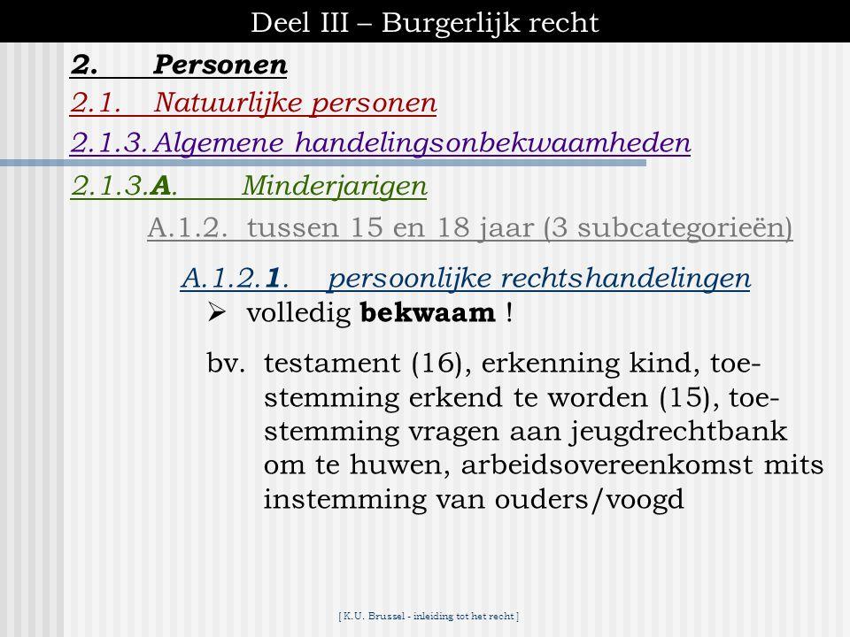 [ K.U. Brussel - inleiding tot het recht ] Deel III – Burgerlijk recht 2.1.Natuurlijke personen 2.1.3.Algemene handelingsonbekwaamheden 2.Personen 2.1