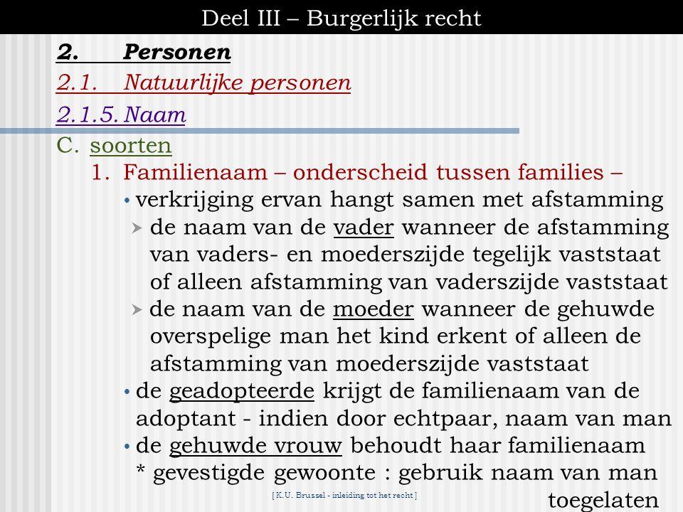[ K.U. Brussel - inleiding tot het recht ] Deel III – Burgerlijk recht 2.1.Natuurlijke personen 2.1.5.Naam 2.Personen A.identiteit van de persoon in d