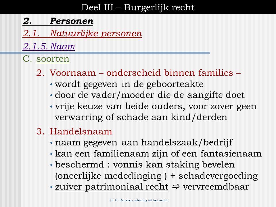 [ K.U. Brussel - inleiding tot het recht ] Deel III – Burgerlijk recht 2.1.Natuurlijke personen 2.1.5.Naam 2.Personen C.soorten 1.Familienaam – onders