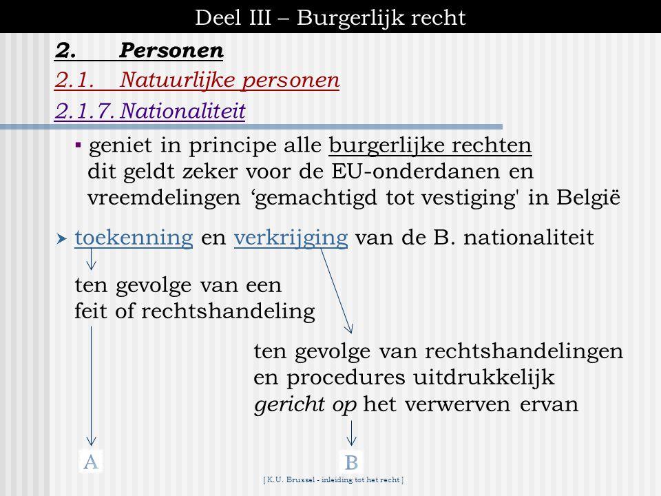 [ K.U. Brussel - inleiding tot het recht ] Deel III – Burgerlijk recht 2.1.Natuurlijke personen 2.1.7.Nationaliteit 2.Personen  = juridische band tus