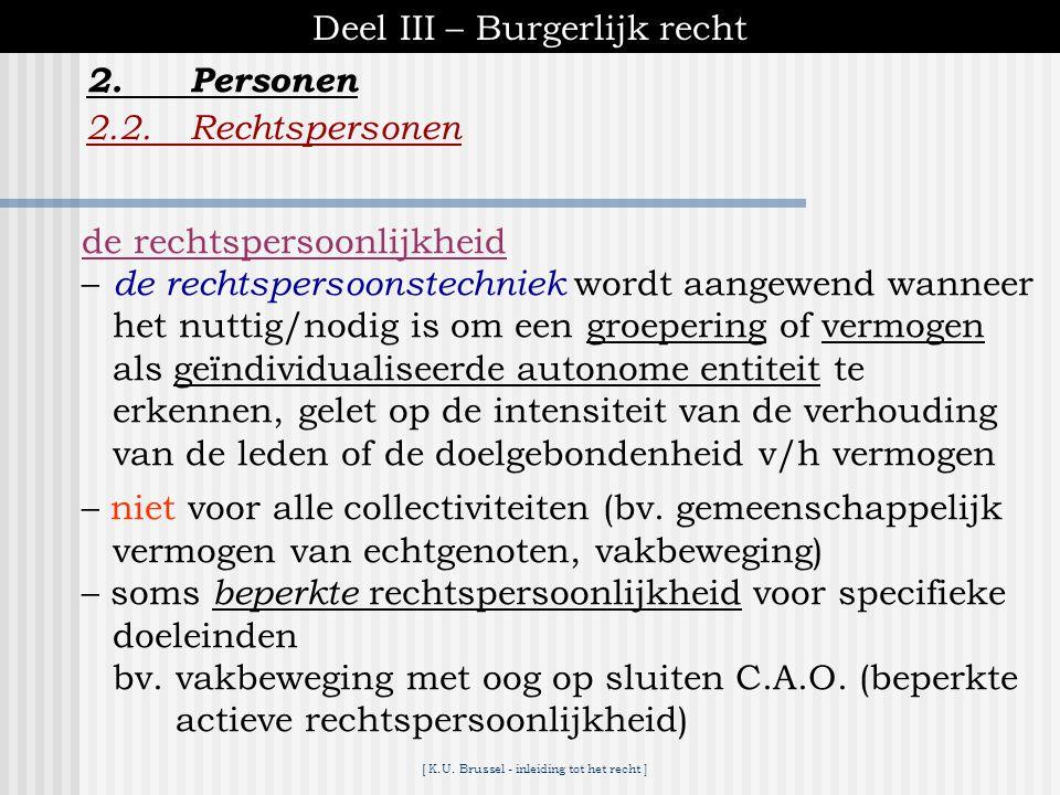 [ K.U. Brussel - inleiding tot het recht ] Deel III – Burgerlijk recht 2.1.Natuurlijke personen 2.1.9.Bescherming van de persoonlijke levenssfeer 2.Pe