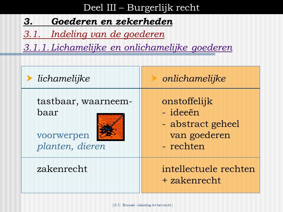 [ K.U. Brussel - inleiding tot het recht ] Deel III – Burgerlijk recht 3.Goederen en zekerheden 3.1. Indeling van de goederen 3.2.Zelfstandige zakelij