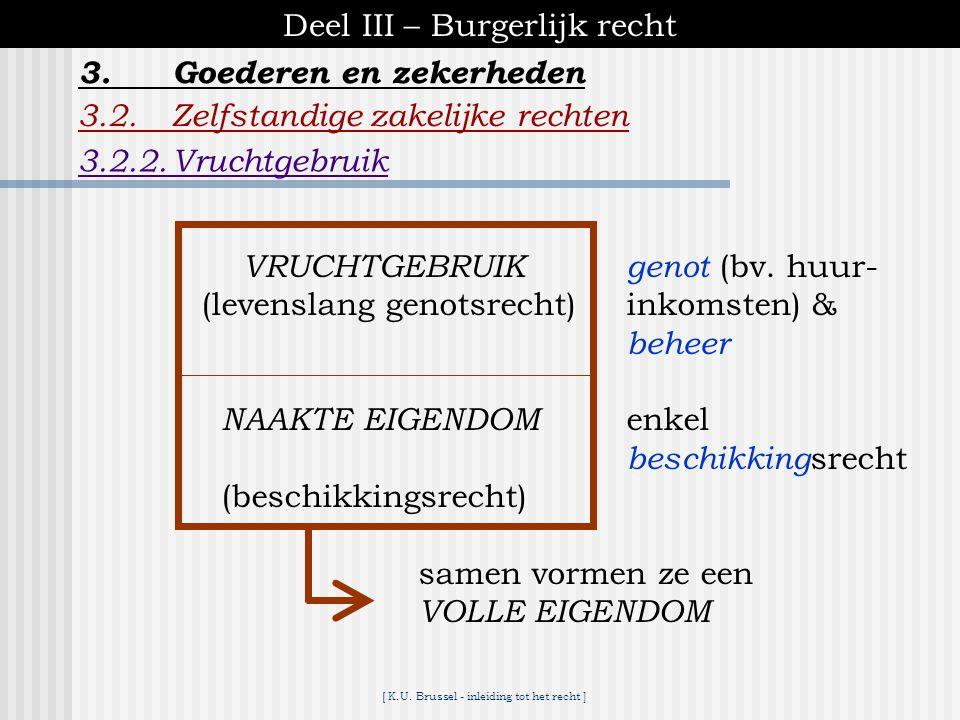 [ K.U. Brussel - inleiding tot het recht ] Deel III – Burgerlijk recht 3.2.Zelfstandige zakelijke rechten 3.2.1.Eigendom 3.Goederen en zekerheden C.2.