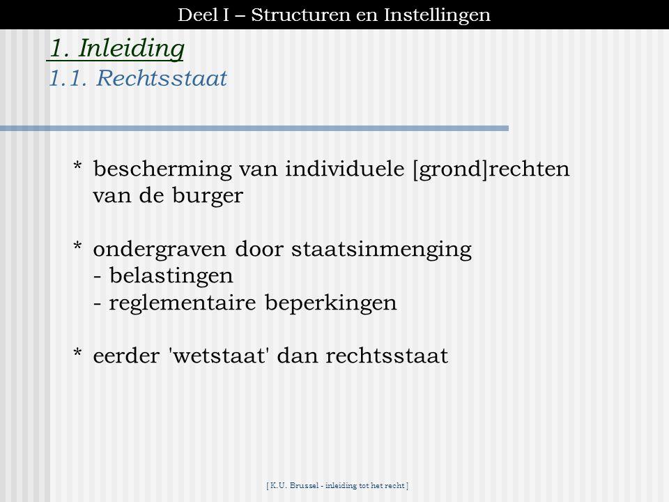 [ K.U. Brussel - inleiding tot het recht ] 1. Inleiding Staatsstructuren : – liberale democratie – 19de eeuw Deel I – Structuren en Instellingen