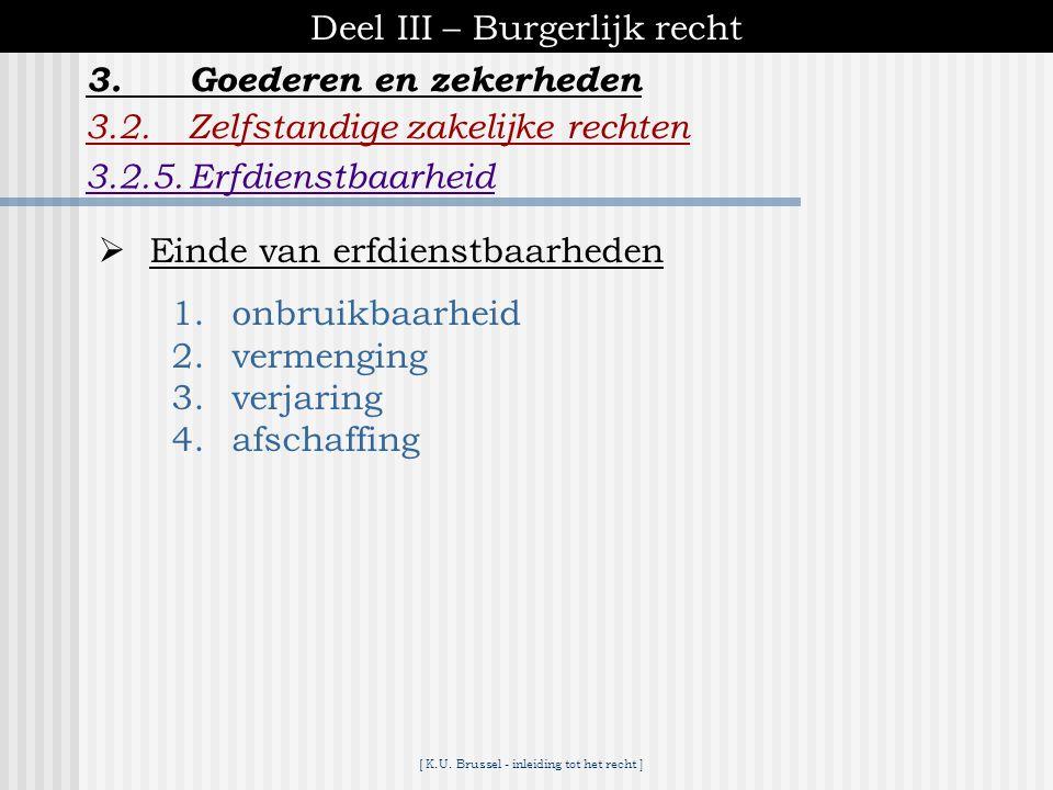 [ K.U. Brussel - inleiding tot het recht ] Deel III – Burgerlijk recht 3.2.Zelfstandige zakelijke rechten 3.2.5.Erfdienstbaarheid 3.Goederen en zekerh