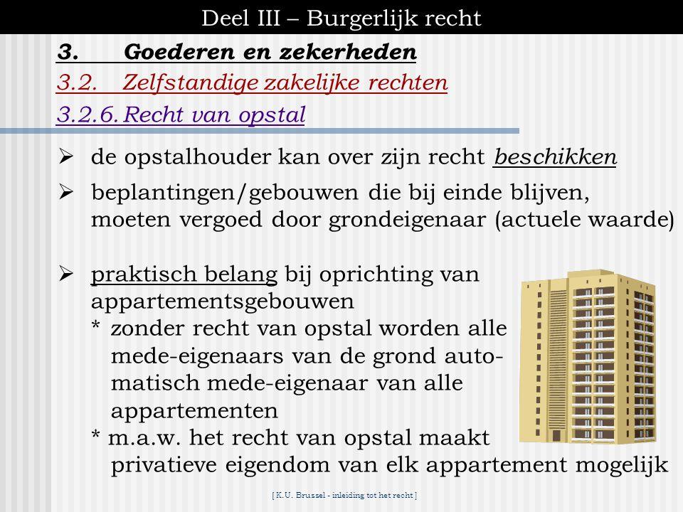 [ K.U. Brussel - inleiding tot het recht ] Deel III – Burgerlijk recht 3.2.Zelfstandige zakelijke rechten 3.2.6.Recht van opstal 3.Goederen en zekerhe