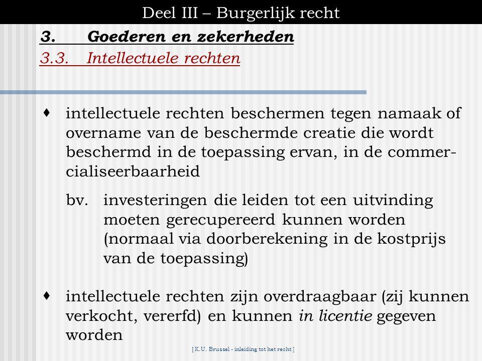 [ K.U. Brussel - inleiding tot het recht ] Deel III – Burgerlijk recht 3.3.Intellectuele rechten 3.Goederen en zekerheden  intellectuele rechten slaa