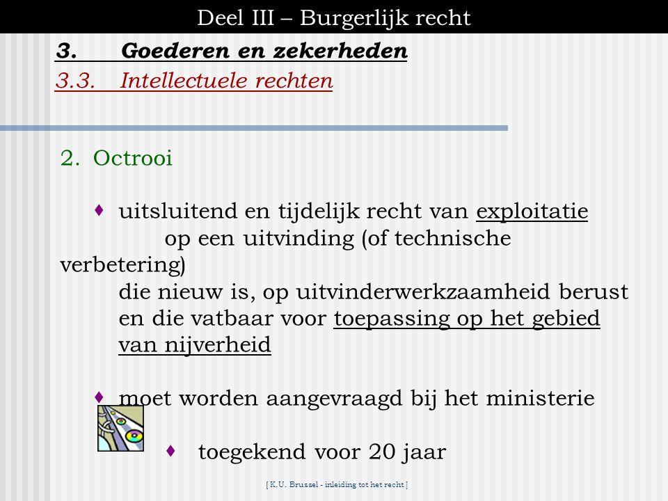 [ K.U. Brussel - inleiding tot het recht ] Deel III – Burgerlijk recht 3.3.Intellectuele rechten 3.Goederen en zekerheden 1. Auteursrecht  recht op e